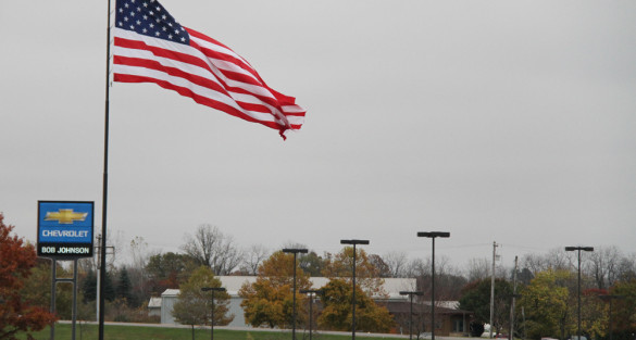 Giant Flag at Bob Johnson Chevrolet Brings Pride to the Sky