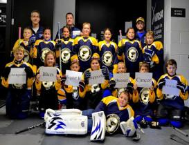 Blues Squirt B Youth Hockey Team Checks Breast Cancer
