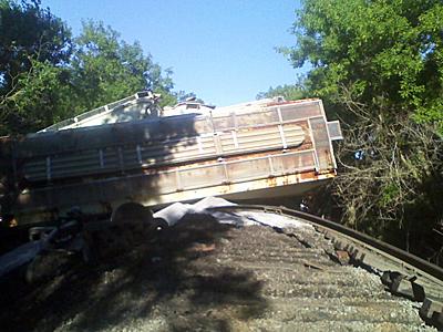 Massive train derailment in Wheatland