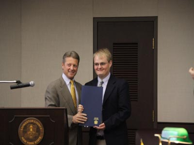Shane Carman presented with a State Senate Proclamation