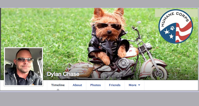 Dylan Chase's Facebook page shows his affection for Animals and his association with animal rights societies.