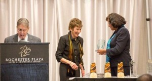 Sherry Walker-Cowart presenting Judge Marianne Furfure with the 2013 Distinguished Jurist Award last year.
