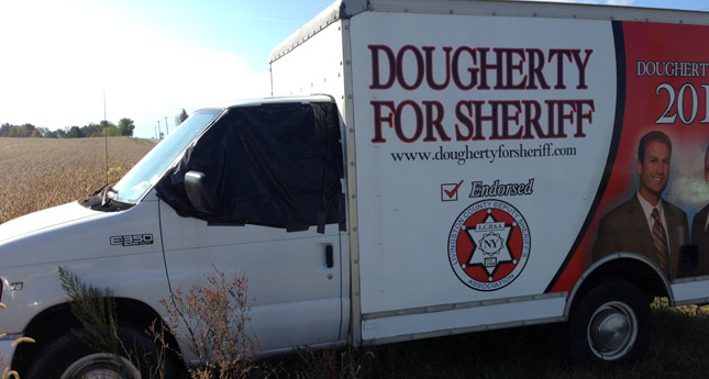 The damaged Dougherty for Sheriff vehicle. (Photo/ Facebook)