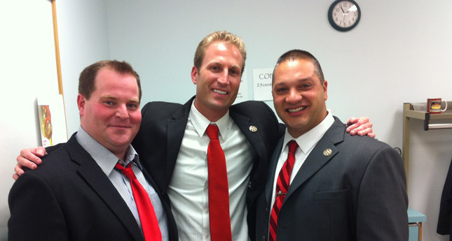 Tom Dougherty celebrates the victory at the board of elections with Kevin Van Allen and his Undersheriff running mate Matt Bean. (Photo/ Josh Williams)