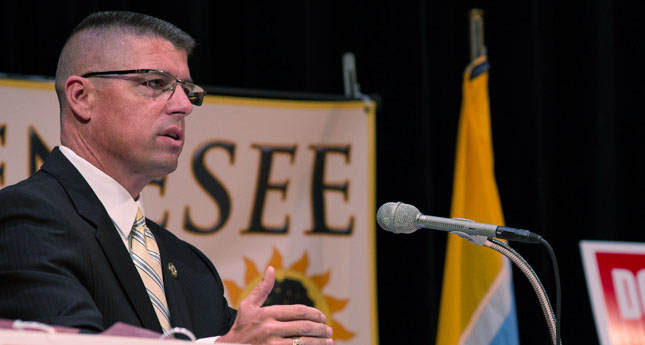 Undersheriff Szczesniak during the candidates debate earlier this year. (Photo/ Michael Carney)