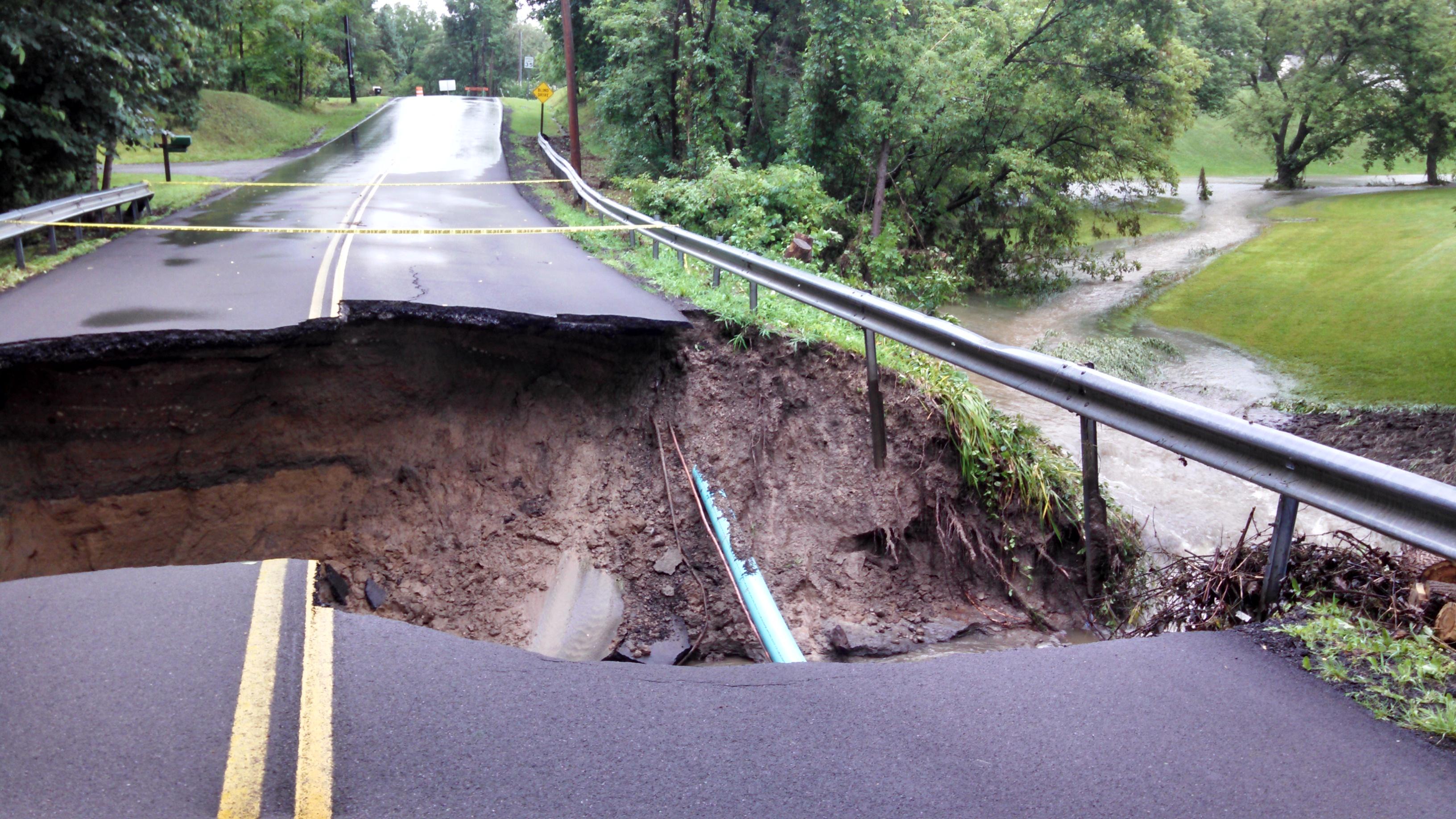 Flash Flood Destroys Bridge in Avon