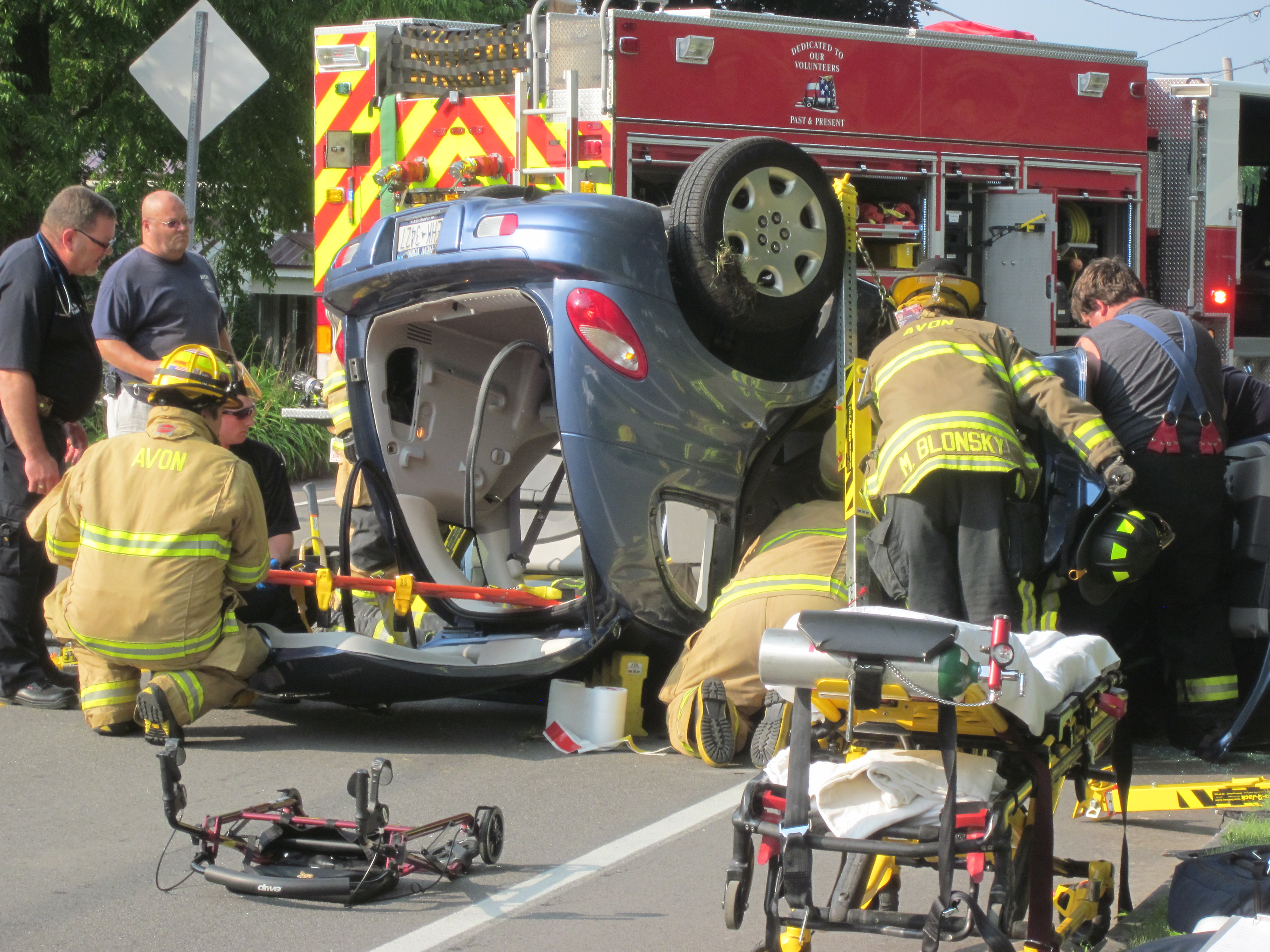 Elderly Person Escapes Serious Injury in Avon Rollover