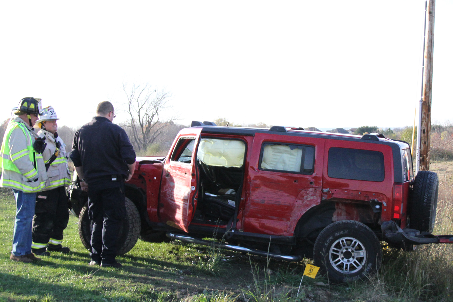 Wake-Up Call for Driver After Brush with Pole