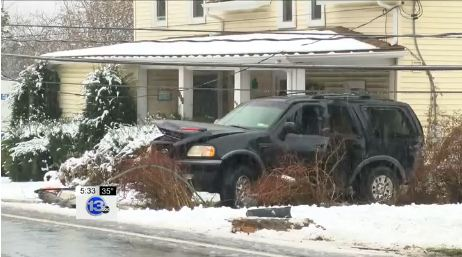 SUV Takes Out Utility Pole, Beware Slick Roads