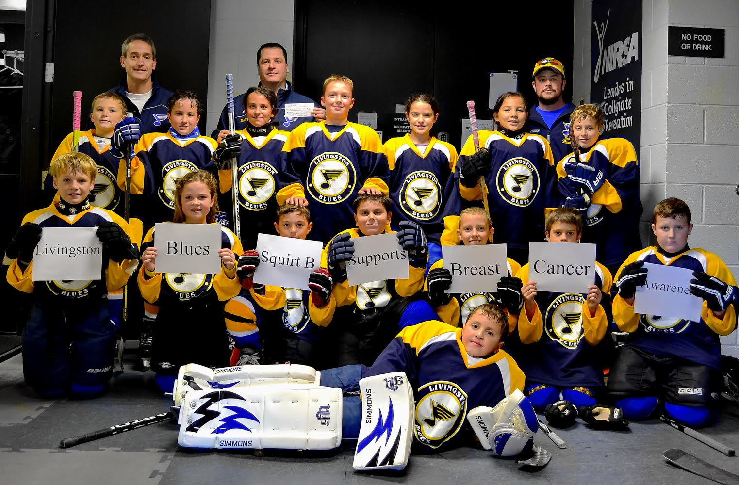 Blues Squirt B Youth Hockey Team Checks Breast Cancer