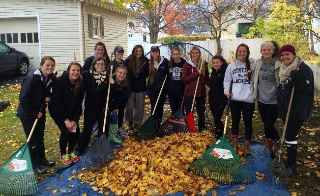 SUNY Student Athletes on Charitable Leaf-Raking Rampage
