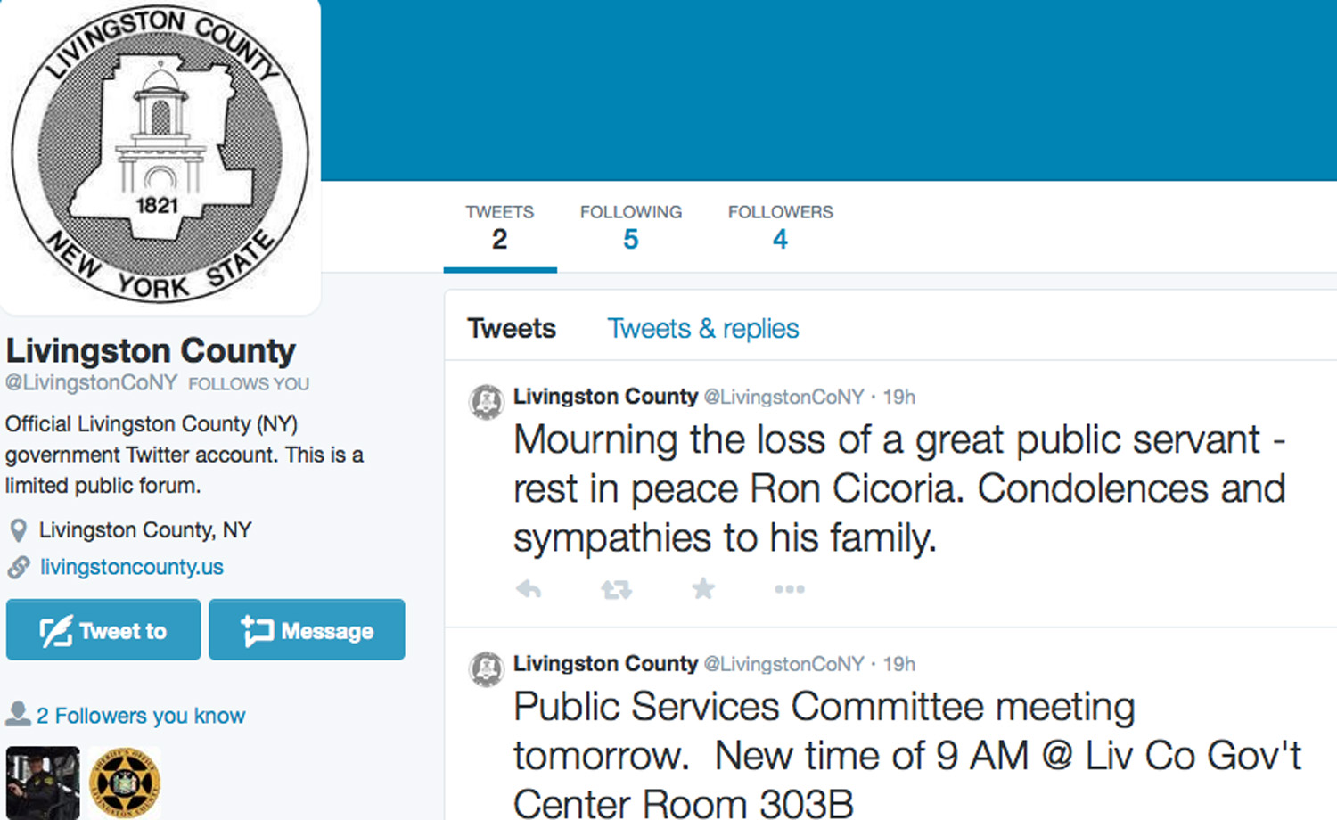 Livingston County Now Tweeting on Twitter