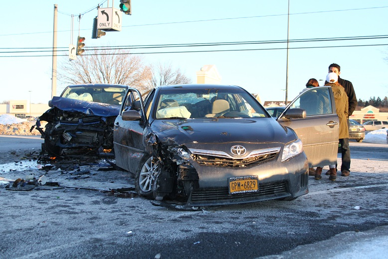 Airbag Deployed in Head-on Collision, None Injured
