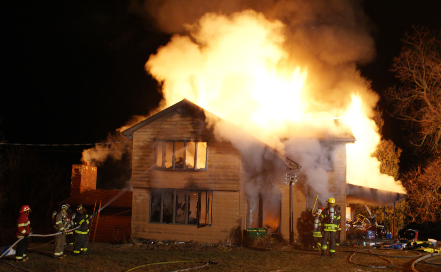 Portage House Rekindles, Flames Again Visible