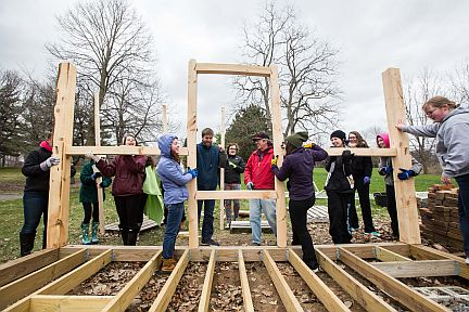 Students Raise Frame for Precise Replica of Thoreau's Cabin