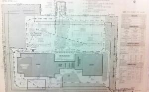 A blueprint of the original project. (Photo/Josh Williams)