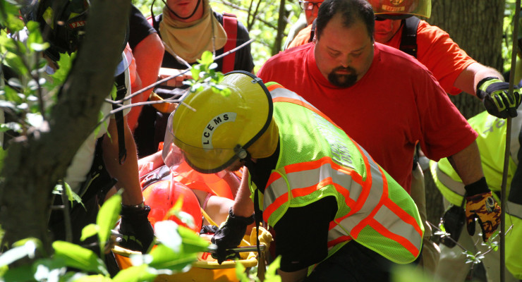 Rope Rescue for Teen Hiker at Fallbrook