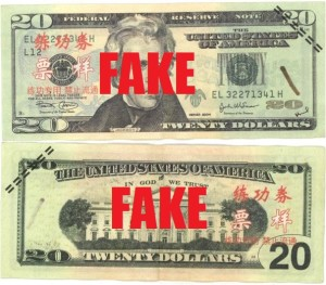 The fake bills that Ellis was trying to pass.