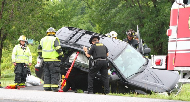 SUV Carrying Children Rolls Over on Lakeville Road