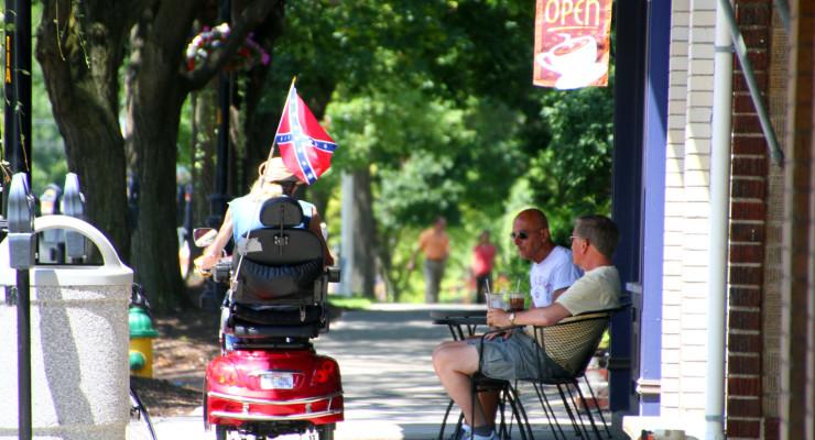 Scooter Raises Virginia Battle Flag and Eyebrows on Main Street Geneseo