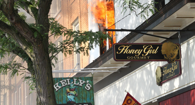Kelly's Saloon Wiped Out by Main Street Geneseo Blaze