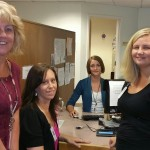 (L-R) Yvonne Rechichi, Associate Revenue Cycle Director; Adrienne Keiffer, Registration Counselor; Lindsay FitzPatrick, Infrastructure Specialist;  Jessica Kenney, Registration Team Leader.