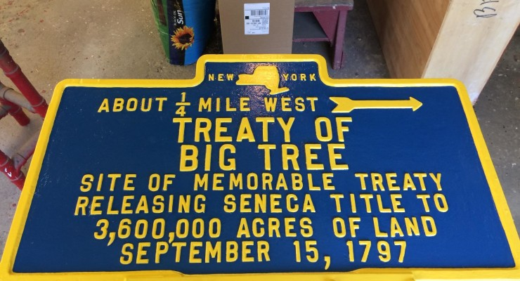 Stolen 'Treaty of the Big Tree' Sign Returned and Restored in Geneseo