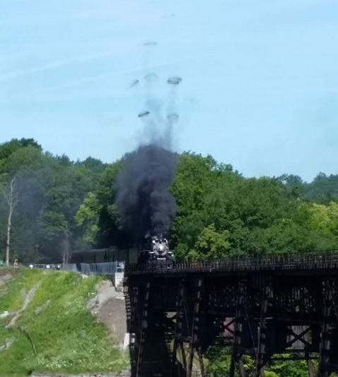 No. 765 blowing smoke rings as it started across the Letchworth trestle. (Photo/James Nelson)