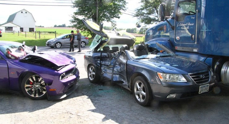 Driver Hospitalized in 3-Vehicle Accident on Rte.5 in East Avon