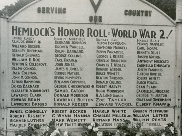 A sign from Hemlock list the names of those serving the country during World War II. (Image Courtesy of the Livingston County Historian's Office)