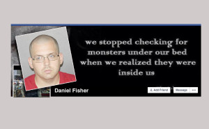 Copy of Daniel Fisher's Facebook page with mugshot inset.