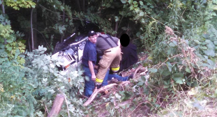 Two Injured when Motorcycle Rolls in Groveland Ravine
