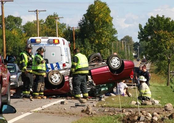 Vehicle Strikes Culvert and Rolls on Avon Geneseo Road