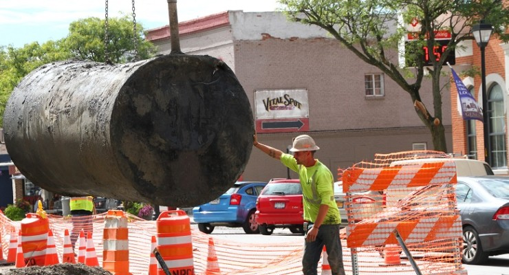 Workers Count Five Gas Tanks so Far Under Main Street Geneseo