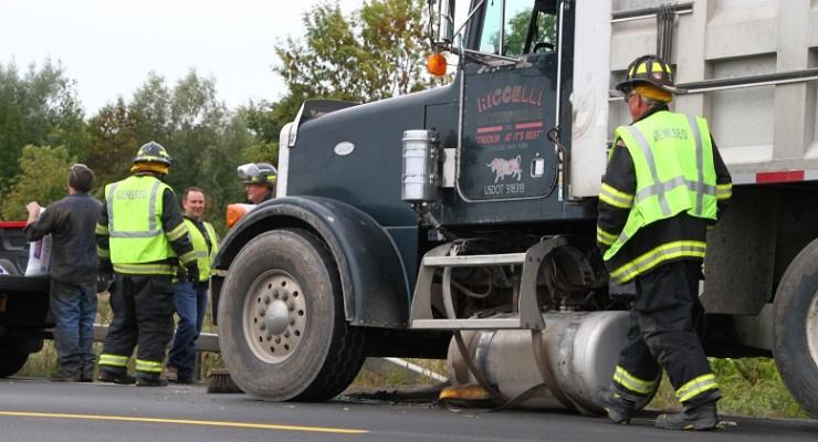 Oops! Dump Truck Dumps Fuel Tank in Geneseo