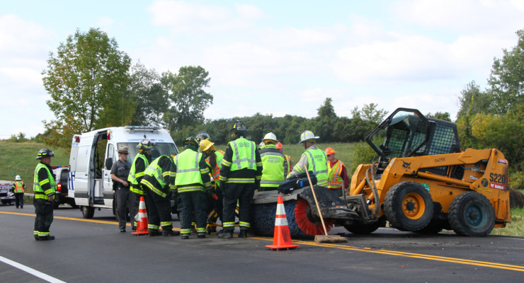 Street Sweeper Struck by Tractor Trailer in Geneseo