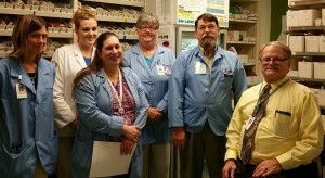 Shannon Smith; Pharmacy Technician, Megan Koch; Wegmans School of Pharmacy Intern, Tara Hughes; Lead Pharmacy Technician, Christine Quigley; Pharmacy Technician, Everett Hunt; Pharmacist and Frank DeMarzo; Pharmacist and Department Director.