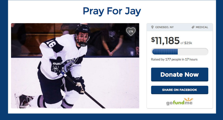 SUNY Geneseo Hockey Player in ICU with Fractured Skull