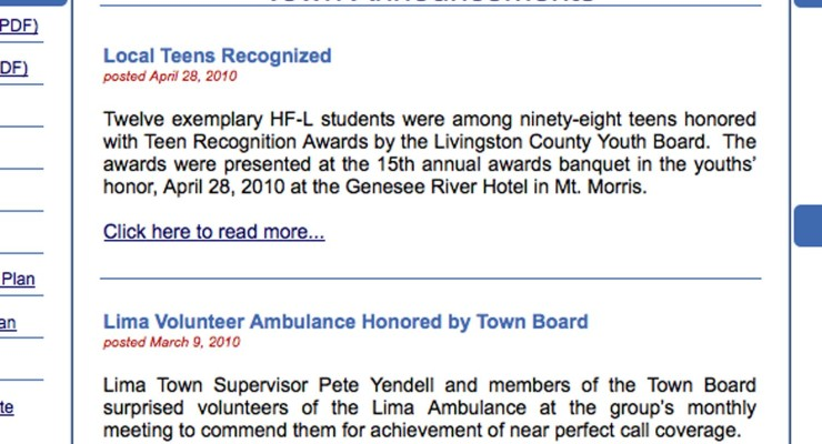 Town of Lima Announcement Page Not Updated Since the First Ipad Released