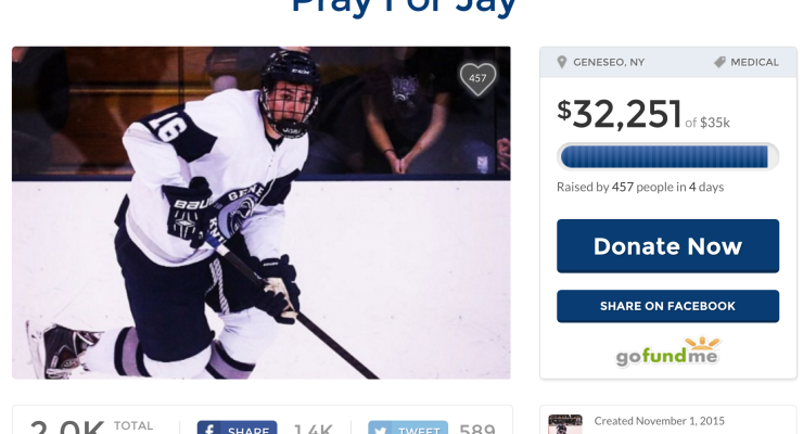 SUNY Geneseo's Injured Hockey Player to get Heartfelt Rally at Home Game