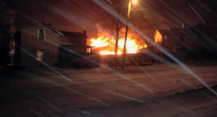 Violent Garage Fire Destroys Vehicles in Castile