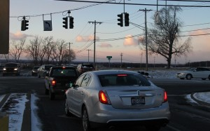 Stoplights out at the intersection of 20A and Genesee Valley Plaza Road.(Photo/Conrad Baker)