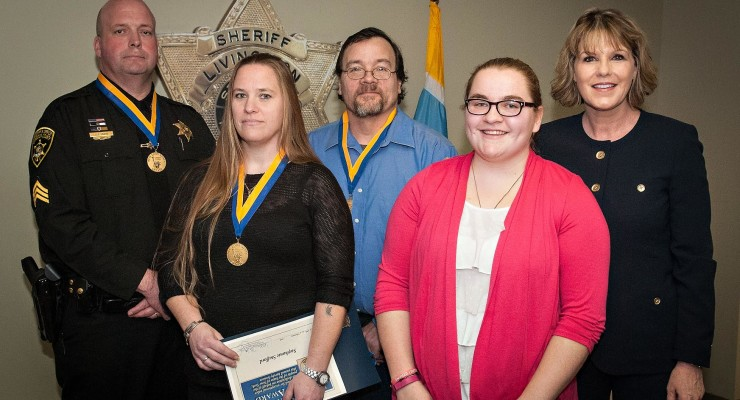 NYS Senate Awards Hero Livingston County Deputy and Neighbors for Fire Rescue