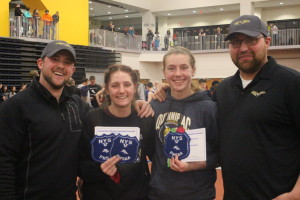From left, Coach Darren Knapp, Madison Lewis, Meghan Curtin, Coach Mike Chapman