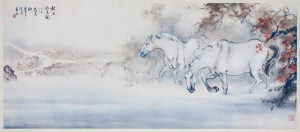 Watercolor painting of horses in a landscape setting. (Photo/Cottone Auctions)