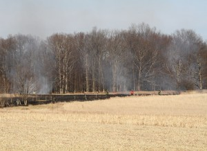 A brush fire in Geneseo on March 8. (Photo/Conrad Baker)
