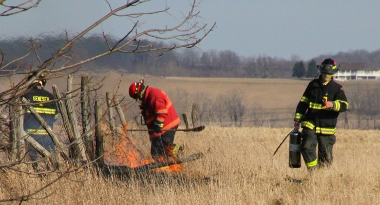 Grass Fire Flares in Tinder Dry Conditions in Geneseo