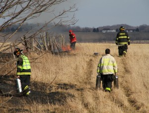 The scene of a grass fire in Geneseo on March 8, 2016. (Photo/Conrad Baker)