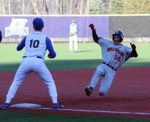 Riley Morse scores a triple for Wellsville. (Photo/Wellsville Varsity Baseball via Facebook)