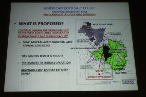 American Rock Salt's presentation on the proposed expansion area. (Photo/Sean Delles)